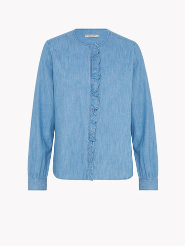 RM Williams Shirts Darlington Denim Frill Blouse