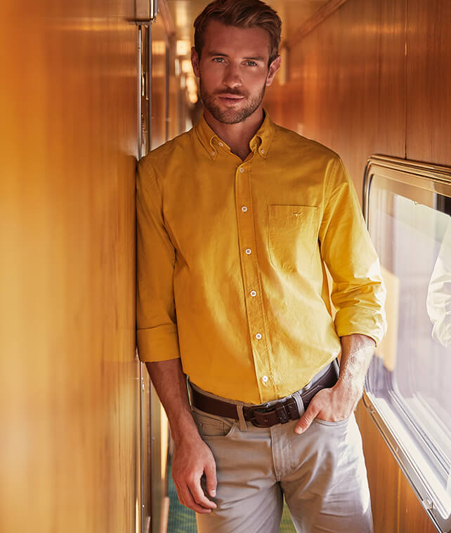 R.M.Williams mustard shirt, drover belt and chinos