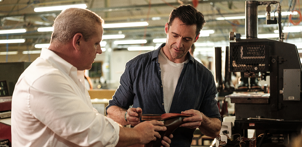 Hugh Jackman at the R.M.Williams workshop learning about boot process